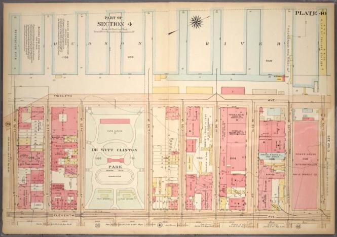 Bromley, 1905: Plate 40, Part of Section 4: Bounded by Twelfth Avenue Hudson River Piers, W. 59th Street, Eleventh Avenue and W. 50th Street.