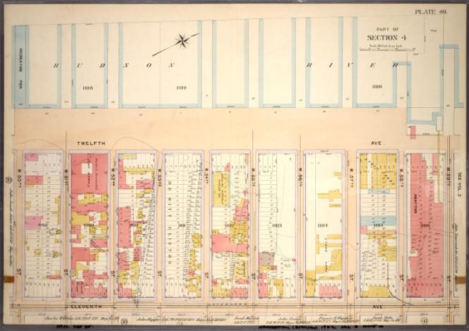 Bromley, 1899: Plate 40, Part of Section 4: Bounded by Twelfth Avenue Hudson River Piers, W. 59th Street, Eleventh Avenue and W. 50th Street.