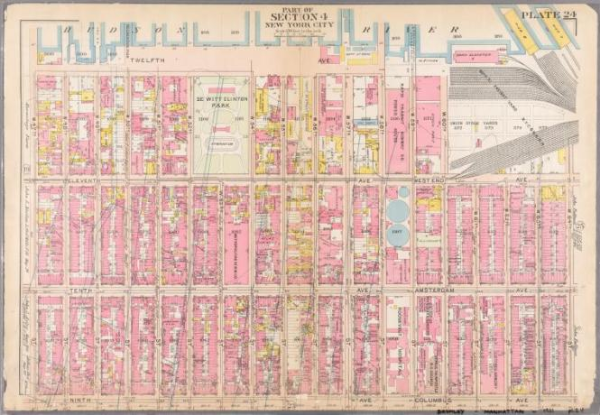 Bromley, 1911: Plate 24: Bounded by Twelfth Avenue Hudson River Piers, W. 60th Street, West End Avenue, W. 64th Street, Columbus Avenue, and W. 47th Street.