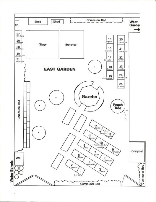 West 104th Street Community Garden, East Garden Plot Map